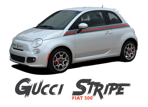 Fiat 500  SE5 ITALIAN GUCCI STRIPE Upper Body Door Accent Abarth Vinyl Graphics Stripes Decals Kit for 2007-2018 Models