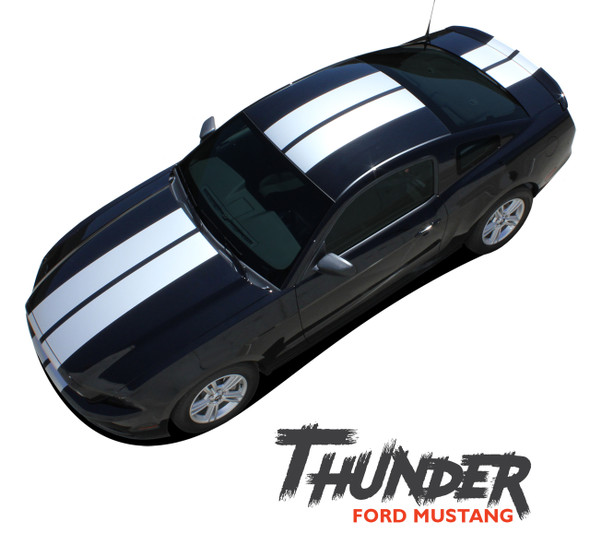 Ford Mustang THUNDER Lemans Style 10 Inch Hood Roof Trunk Racing Rally Stripes Vinyl Graphics Decals Kit 2013 2014