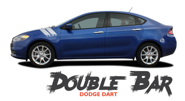 Dodge Dart DOUBLE BAR Fender Hash Slash Striping Vinyl Graphic Decals for 2013 2014 2015 2016