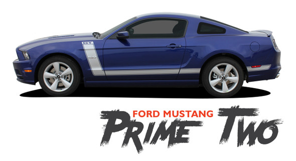 Ford Mustang PRIME TWO 302 Boss Style Center Hood Side Door Hockey Rocker Panel Body Vinyl Graphics Kit 2013 2014