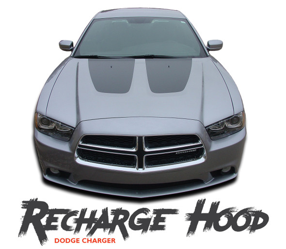 Dodge Charger RECHARGE HOOD Vinyl Graphics Split Hood Decal Striping Kit for 2011 2012 2013 2014 Models
