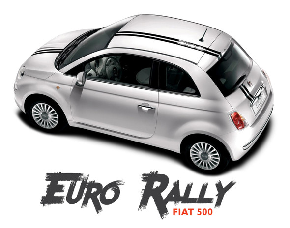 Fiat 500 EURO RALLY Offset Hood Roof Racing Vinyl Graphics Stripes Decals Kit for 2007-2018 Models