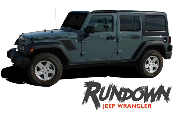 Jeep Wrangler RUNDOWN Hood to Fender Side Body Vinyl Graphics Decal Stripe Kit for 2007-2017 Models