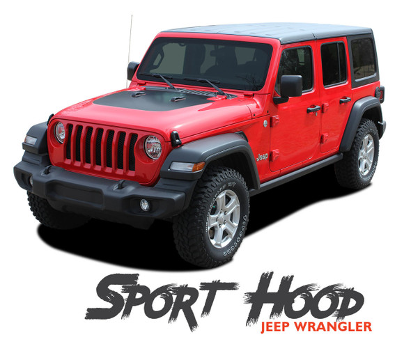 Jeep Wrangler SPORT Hood Blackout Center Vinyl Graphics Decal Stripe Kit for 2018-2020 2021 Models