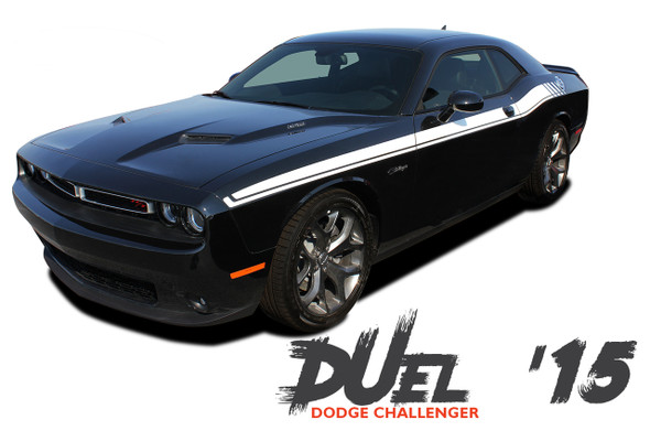 Dodge Challenger DUEL 15 Upper Door Split Strobe R/T Vinyl Graphic Decal Stripe Kit 2011 2012 2013 2014 2015 2016 2017 2018 2019 2020
