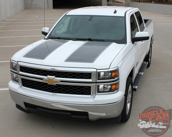Chevy Silverado RALLY 1500 Rally Edition Style Hood Tailgate Vinyl Graphic Decal Racing Stripe Kit fits 2014 2015