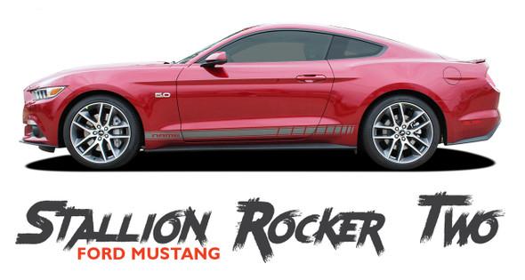 Ford Mustang STALLION ROCKER TWO Lower Door Strobe Rocker Panel Body Stripes Vinyl Graphic Decals 2015 2016 2017