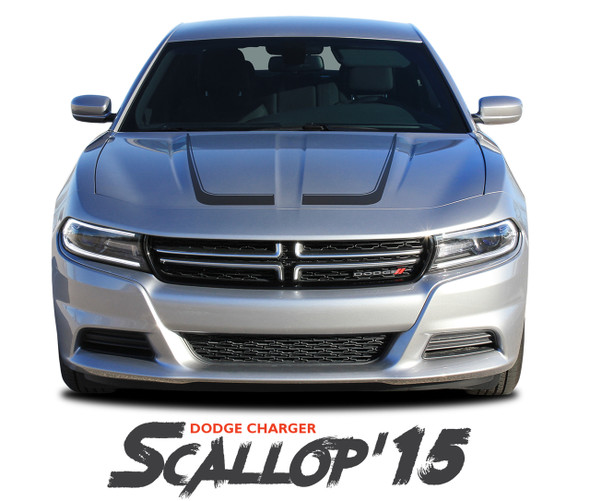Dodge Charger SCALLOP 15  Hood Overlay Accent Vinyl Graphic Stripes Decals for 2015 2016 2017 2018 2019 2020 2021