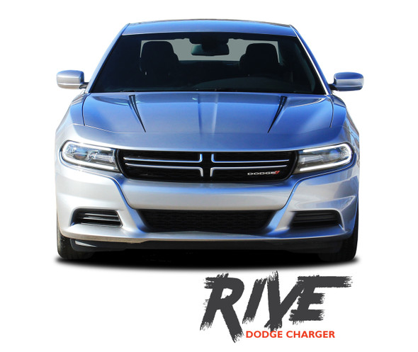 Dodge Charger RIVE Hood Spikes Rear Quarter Panel Body Sides Vinyl Graphic Decals and Stripe Kit for 2015 2016 2017 2018 2019 2020
