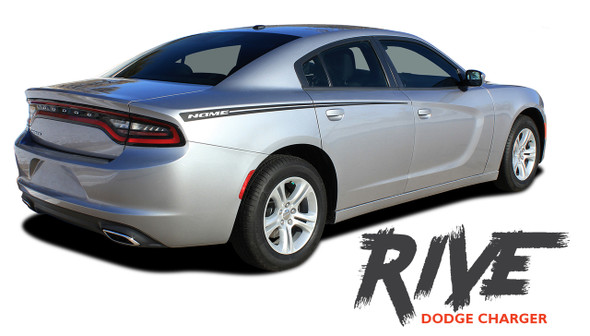 Dodge Charger RIVE Hood Spikes Rear Quarter Panel Body Sides Vinyl Graphic Decals and Stripe Kit for 2015 2016 2017 2018 2019 2020 2021