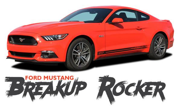 Ford Mustang BREAKUP Lower Door Rocker Panel Body Stripes Vinyl Graphic Decals 2015 2016 2017