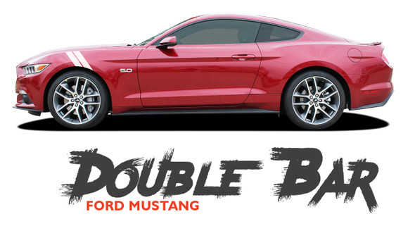 Ford Mustang DOUBLE BAR 15 Hood to Fender Hash Mark Style Vinyl Graphic Racing Stripe Decals 2015 2016 2017