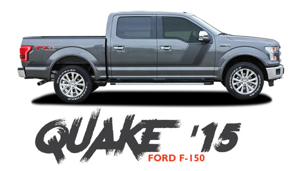 Ford F-150 QUAKE 15 Hood and Hockey Stripe Tremor FX Appearance Vinyl Graphics Decals Striping 2015 2016 2017 2018 2019 2020