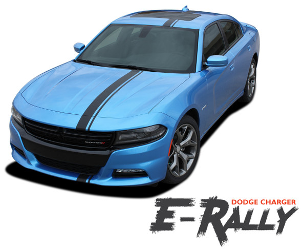 Dodge Charger EURO RALLY Offset Racing Stripes Bumper Roof Hood Vinyl Graphics Decal Stripe Kit for 2015 2016 2017 2018 2019 2020 2021