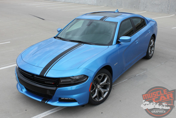 Dodge Charger EURO RALLY Offset Racing Stripes Bumper Roof Hood Vinyl Graphics Decal Stripe Kit for 2015 2016 2017 2018 2019 2020