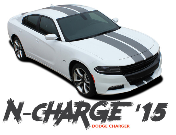 Dodge Charger N-CHARGE RALLY 10 inch Racing Stripe Rally Hood Vinyl Graphics Decal Stripe Kit for 2015 2016 2017 2018 2019 2020 2021