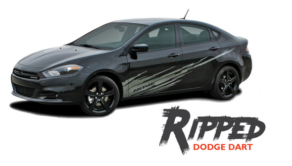 Dodge Dart RIPPED Lower Door Splash Rocker Vinyl Graphic Body Striping for 2013 2014 2015 2016