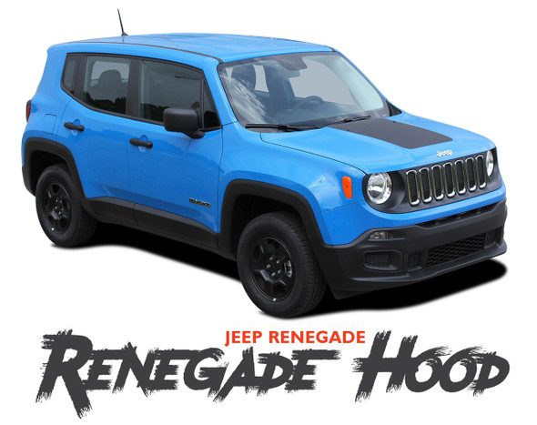 Jeep Renegade HOOD Trailhawk Style Center Hood Blackout Decal Vinyl Graphic Stripe Kit for 2014 2015 2016 2017 2018 2019 2020