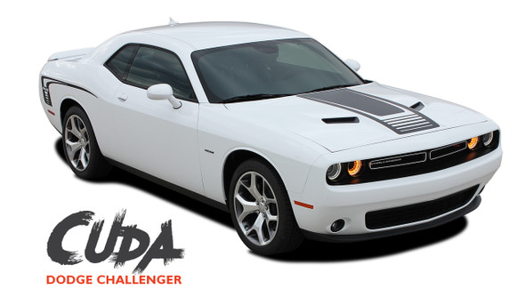Dodge Challenger Factory OEM Style CUDA STROBE COMBO Strobe Hood and Side Vinyl Graphic Decal Stripes Kit 2008-2019 2020