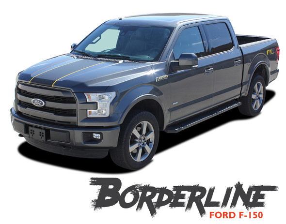 Ford F-150 BORDERLINE Center Racing Stripes with Outline Vinyl Graphics and Decals Kit for 2015 2016 2017 2018 2019 2020
