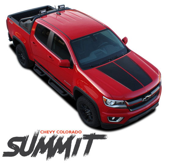 Chevy Colorado SUMMIT Hood Dual Racing Stripe Factory Style Hood Package Vinyl Graphic Decal Kit fits 2015 2016 2017 2018 2019 2020 2021