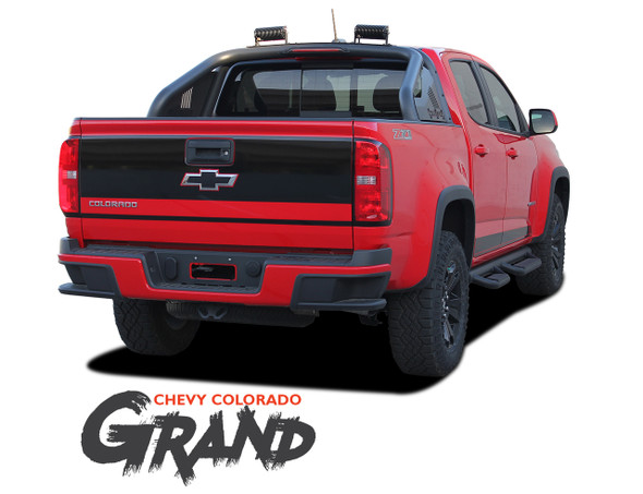 Chevy Colorado GRAND Rear Tailgate Blackout Accent Vinyl Graphic Decal Stripe Kit 2015 2016 2017 2018 2019 2020 2021