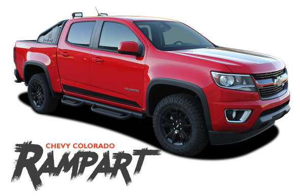 Chevy Colorado RAMPART Lower Rocker Door Panel Body Accent Vinyl Graphic Decal Stripe Kit 2015 2016 2017 2018 2019 2020 2021