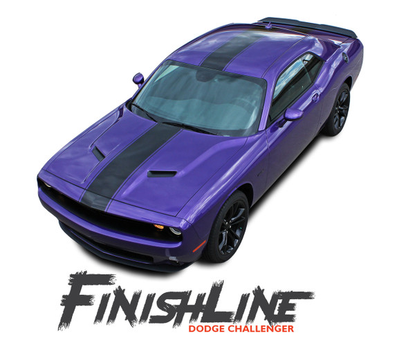 Dodge Challenger FINISHLINE Center Wide Rallye Redline Vinyl Graphic Hood Racing Stripes Hood Decal 2011-2020