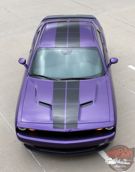 Dodge Challenger PULSE RALLY Strobe Hood to Trunk Vinyl Graphic Racing Rally Stripes Kit 2008-2019 2020 Models