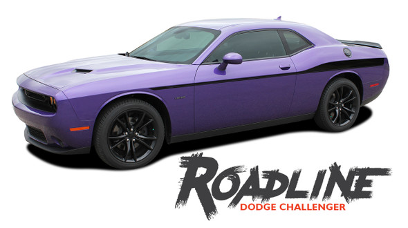 Dodge Challenger ROADLINE Wide Upper Door Body Accent Decals Vinyl Graphics Side Stripes for 2008-2019 2020 Models
