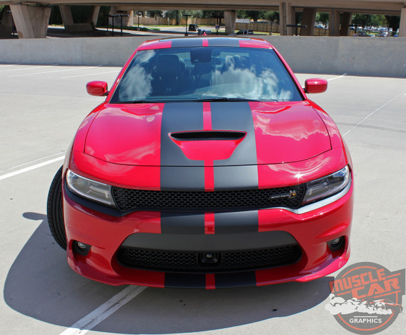 Dodge Charger N-CHARGE S-PACK R/T Scat Pack SRT 392 Hellcat Racing Stripe Rally Hood Vinyl Graphics Decals 2015 2016 2017 2018 2019 2020 2021