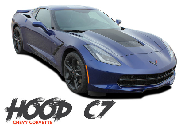 Chevy C7 Corvette HOOD Vinyl Graphic Decals Stripe Center Blackout Kit for 2014 2015 2016 2017 2018 2019