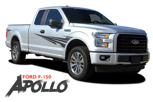 Ford F-150 APOLLO Side Door Splash Design Rally Stripes Vinyl Graphics Decals Kit for 2015 2016 2017 2018 2019 2020