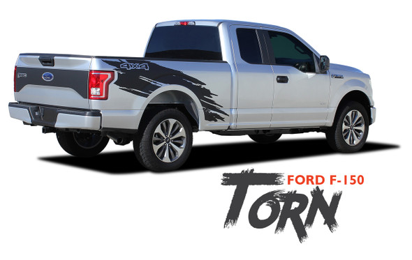 Ford F-150 TORN Mudslinger Side Truck Bed 4X4 Rally Stripes Vinyl Graphics Decals Kit for 2015 2016 2017 2018 2019 2020