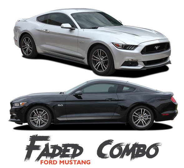 Ford Mustang FADED COMBO Digital Fade Lower Rockers and Hood Spear Stripes Vinyl Graphics Kit fits 2015 2016 2017 Models