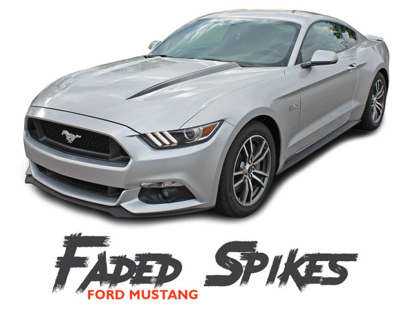 Ford Mustang FADED HOOD SPIKES Digital Fade Hood Spear Stripes Vinyl Graphics Kit fits 2015 2016 2017 Models
