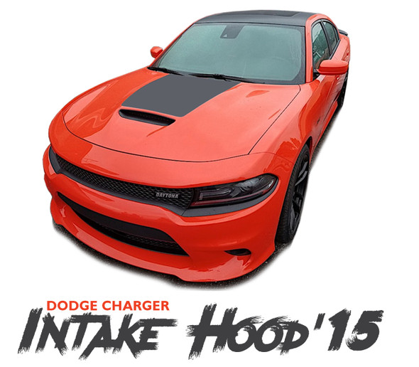 Dodge Charger SE RT Hemi Daytona HOOD 15 Mopar Blackout Style Center Hood Vinyl Graphics Decals Kit 2015-2019 2020 2021