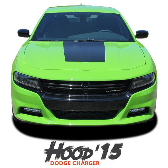 Dodge Charger HOOD '15 SE RT Hemi Daytona Mopar Blackout Center Hood Stripe Vinyl Graphics Decals 2015 2016 2017 2018 2019 2020