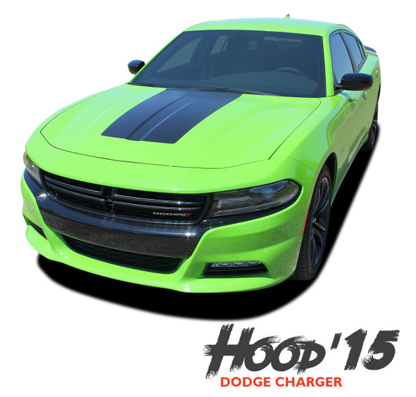 Dodge Charger HOOD '15 SE RT Hemi Daytona Mopar Blackout Center Hood Stripe Vinyl Graphics Decals 2015 2016 2017 2018 2019 2020 2021