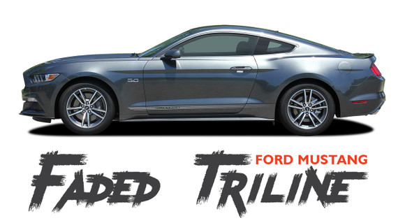 Ford Mustang FADED TRILINE ROCKERS Digital Fade Lower Door Rockers Stripes Vinyl Graphics Kit fits 2015 2016 2017 Models