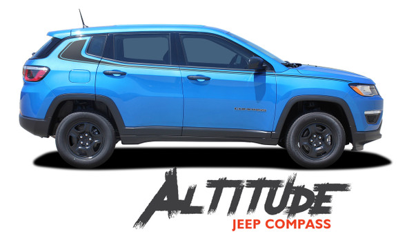 Jeep Compass ALTITUDE Upper Door Body Line Accent Vinyl Graphics Decal Stripe Kit for 2017 2018 2019 2020
