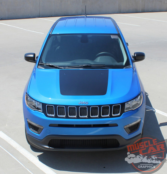 Jeep Compass BEARING SOLID Hood Vinyl Graphics Decal Stripe Kit for 2017 2018 2019 2020