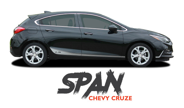 Chevy Cruze SPAN Rocker Stripes Door Vinyl Graphics Decal Kit for 2016 2017 2018 2019