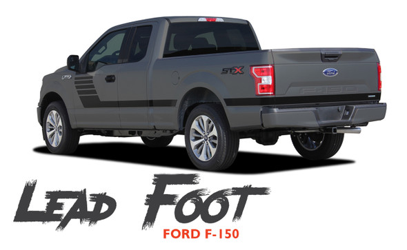 Ford F-150 LEAD FOOT Special Edition Side Door Hockey Stripe Vinyl Graphics Decals Kit 2015 2016 2017 2018 2019 2020