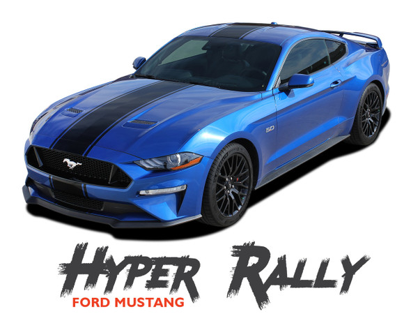 Ford Mustang Racing Stripes HYPER RALLY Center Hood Roof Trunk Racing Rally Stripes Vinyl Graphics Decals Kit 2018 2019