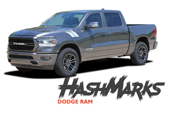 Dodge Ram HASH MARKS Hood Fender Stripes Double Bar Slash Decals Vinyl Graphics Kit 2019 2020 2021