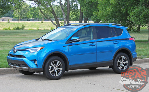 Toyota RAV4 Side Door Stripes RAVAGE SIDES Accent Trim Decals Vinyl Graphic Kit 2016 2017 2018 2019