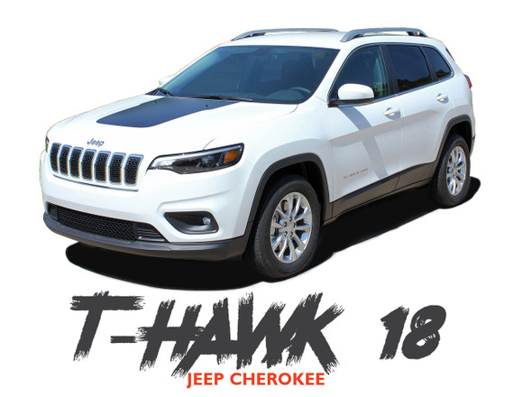 Jeep Cherokee T-HAWK WINGED Trailhawk Hood Center Blackout Vinyl Graphics Decal Stripe Kit for 2013 2014 2015 2016 2017 2018 2019 2020