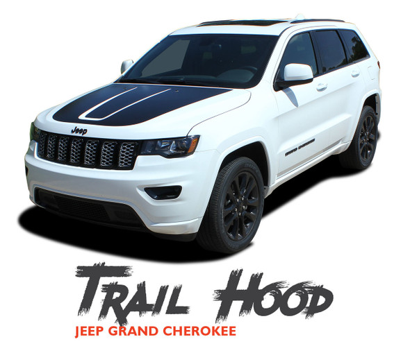Jeep Grand Cherokee Hood Blackout TRAIL HOOD Vinyl Graphics Decal Stripe Kit 2011-2019 2020 2021