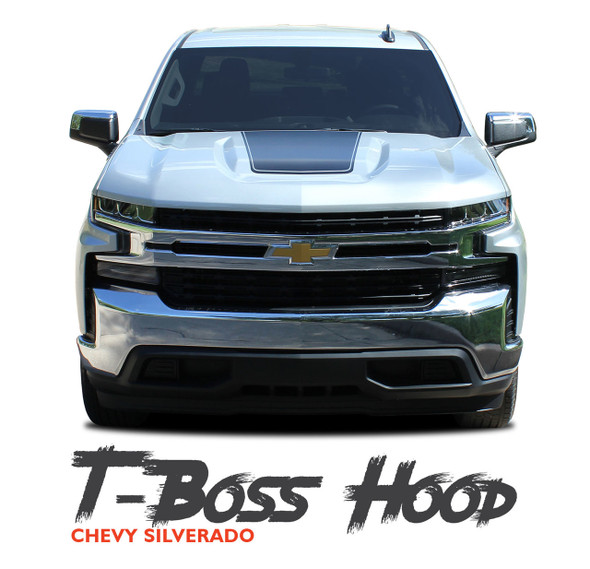 Chevy Silverado Hood Decals Trail Hood T-BOSS HOOD Stripe Vinyl Graphic Kit fits 2019 2020
